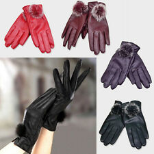 Fashion Women Winter Soft Leather Mitten Gloves Warm Driving Gift