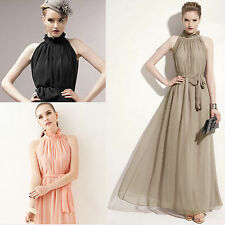 Ladies Womens Chiffon Ruffle Neck Sleeveless Evening Ball Gown Long Maxi Dresses