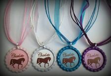 Boutique Personalized Name Western Cowgirl Bottle Cap Necklace Horse