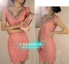 Fashion Temperament OL V-neck Drill Package Hip Sexy Cocktail Party Mini Dress
