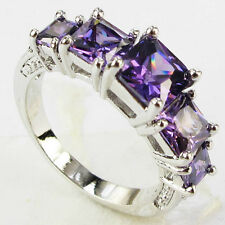 Size 6,7,8,9 Jewelry Woman's Amethyst 10KT White Gold Filled Ring