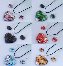 Handmade LOVE HEART Murano Lampwork Glass Necklace Earrings Set Jewellery