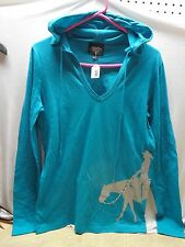 Jrs Ladies Jade Teal Green Hooded Western Pleasure Horse Tee T-Shirt S M L XL 2X