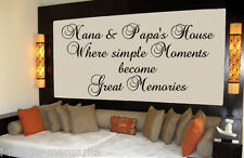 Nana & Papa's House Where Moments Become Memories Vinyl Kitchen Wall Decal 99088