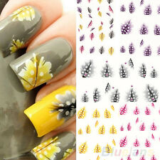 1 Sheet Feather 3D Nail Art Water Decal Sticker Fashion Tips Decoration BF4U