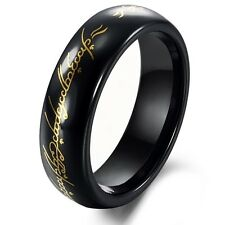 Tungsten Black & Gold Lord of Ring Mens Ring Size 6 - 10