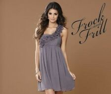 BNWT NEW FROCK AND FRILL ROSETTE PARTY DRESS 8 10 12 14 16 18 GREY RUFFLE FLORAL