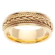 14K Yellow Gold Hand Braided Crafted Wedding Ring Band  7mm (WJRL03314)