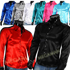 Men's Shirt Shirts Business Casual Büro Sparkle Satin Slimfit Fitted New