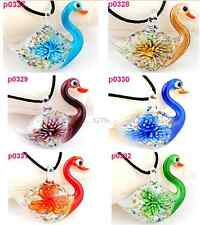 new lovely lampwork Murano art glass beaded pendant necklace swan one p327 one