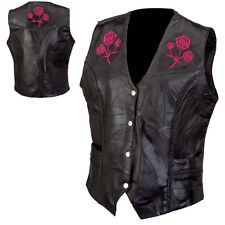 Genuine Black Leather Ladies Vest Embroidered Rose Motorcycle Biker Womens