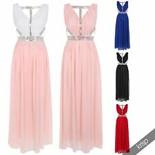 Womens Diamante Chiffon Long Prom Formal Sexy Backless Evening Gown Maxi Dress