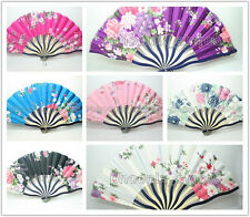 Lot of Chinese Bamboo Folding Silk HAND FAN With Flowers Wedding Party GiftOptio
