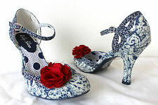 Ruby Shoo Paisley Clara Blue White Shoes Sz 3 - 8 Red Corsage Wedding Bridesmaid