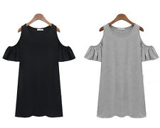 lady clothes butterfly sleeve cute strapless dress shirt dress