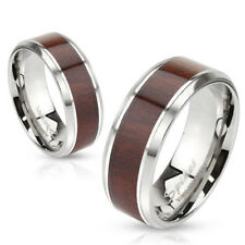 Stainless Steel Wood Center Inlaid w/ Beveled Edges Wedding Band Ring Size 5-13