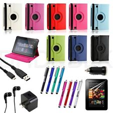 """7 in1 Rotating PU Leather Case Cover For Kindle Fire HD 7"""" Protector Bundles"""