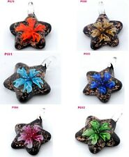 new hot HANDMADE flower star lampwork Murano glass beaded pendant necklace p679