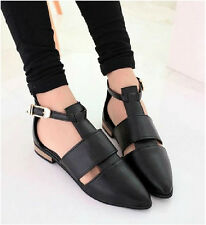 Women's Vintage Pointed Toe T-bars Ankle Strap Hollow Out Punk Sandals Shoes