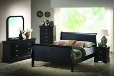 Black Sleigh Bed Bedroom Furniture Set Solid Wood Twin Full Queen or King