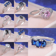 Hot Selling 18K White Gold Filled Ring Sapphire Wedding Jewelry Gift Size 7,8,9