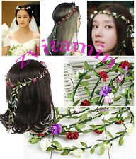 Boho Bridal Floral Flower Festival Wedding Garland Forehead Hair Band Headpiece