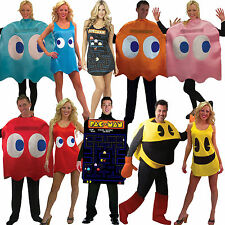 Mens Ladies Retro Arcade Licensed Pacman Video Game Fancy Dress Costume New