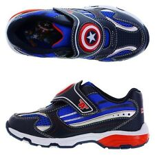 CAPTAIN AMERICA AVENGERS Light-Up Sneakers Athletic Shoes NWT Boys Size 8-2 $40