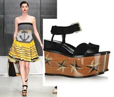 $1,365 YVES SAINT LAURENT SHOES SUEDE LEATHER STARFISH WEDGE PLATFORM