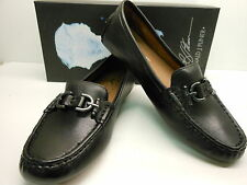 NEW DONALD J PLINER VIKY-02 BLACK LEATHER DRIVING MOCS WITH PEWTER BIT