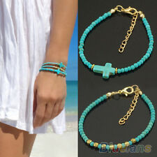 Womens Unique Turquoise Cross Bracelet Girls Copper Beads Hand Chain Charm BF2U