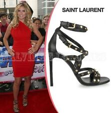 $1,295 YVES SAINT LAURENT 2013 JERRY SANDAL SHOES STUDDED BLACK LEATHER