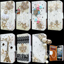 LUXURY 3D BLING DIAMOND LEATHER CARD WALLET CASE COVER FOR iPHONE 4S 5S 5C 6