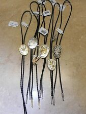 Mens Western Black Leather Silver Gold Tips BOLO Tie TIES Horse Eagle Steer