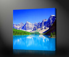 ROCKY MOUNTAINS LAKE LANDSCAPE CANVAS PRINT ART MANY SIZES FREE UK POSTAGE