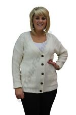 New Womens Ladies 5 Button Cable Knitted Long Sleeve Cardigan