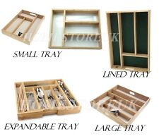 WOODEN SMALL LARGE CUTLERY UTENSIL TRAY HOLDER DRAWER ORGANISER STORAGE RACK
