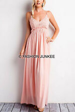 PINK CROCHET MAXI Dress Backless Open Back Low Cut Full Length Bridesmaid S M L