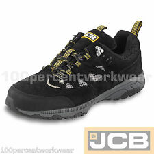 JCB TREKKER Safety BLACK Hiker Leather Waterproof Work Trainers Shoes Steel Toe