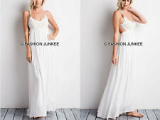 WHITE CROCHET MAXI Dress Backless Open Back Low Cut Full Length Bridesmaid S M L