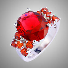 Xmas Gift Oval Cut Ruby Spinel Gemstone Silver Ring Size 6 7 8 9 10 11 Free Ship