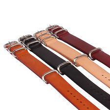 Brown Black Watch Genuine Leather Army Watchband Strap Wristwatch Band 20mm