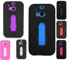 For HTC One M8 IMPACT Hard Rubber Case Phone Cover Kickstand Accessory