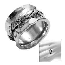 925 Sterling Silver Hammered Concave Spinning Rope Center Stripe Ring Size 7-9