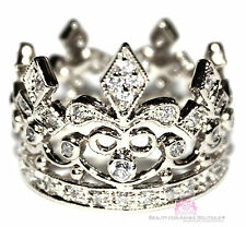 925 Sterling Silver Fleur de Lis Royalty Princess Clear CZ Crown of Life Ring