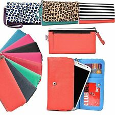 New Stylish Universal Clutch Flip Leather Wallet for Smartphone with Card Slots