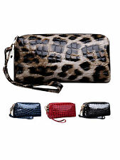 Women Ladies Crocodile PU Leather Dual Zipper Handbag Clutch Purse Bag Wallet