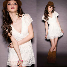 Summer White Fashion Women Deep V-neck Lace Short Sleeve Tunic Tops Mini Dress