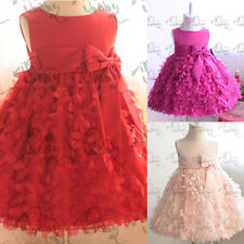 Sweet Baby Girls Party Pageant Dress Flower Clusters Princess Tutu Skirt 1-6Y