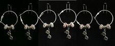 Hoop & Fish Hook Earrings with Glasses Charm & Crystal Beads